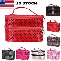 Large Polka Dot Makeup Bag Organizer Travel Cosmetic Box Toiletry Bag Case US
