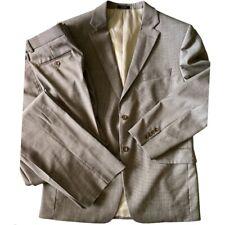 Jones New York Mens Suit Jacket Pant Set Brown 100% Wool Size 42
