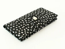 Cat Dog Paws Wallet Fabric Womens Organizer Wallet Bifold - whites paws in black