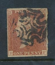 Penny Red Imperf Plate 28 Pf Guidelines Horizontal + Vertical 4 Margins