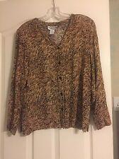 Pendleton Women Brown Animal Print Blouse Long Sleeve Size 10 Petite
