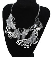 Women's Butterfly Bib Statement Pendant Choker Chain Necklace Fashion Jewelry