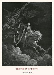 1880 Death grim reaper pale horse Gustave Dore BIG archival fine art print 24x33