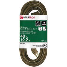 Utilitech 40-ft 13-Amp 16-Gauge Brown Outdoor Extension Cord Durable Flexible