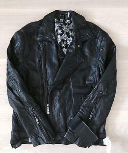 Affliction Brain Storm Leather Jacket Black Size XL 100% Original