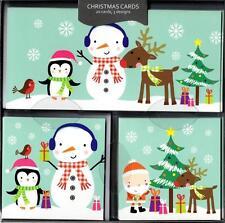 Caja de 20 Tarjetas de Navidad Muñeco de nieve temática Surtidos 3 Diseños escenas festivo