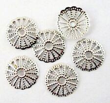 LOT de 100 PERLES COUPELLES filigranes CAPS fleur 13mm ARGENTE foncé bijoux