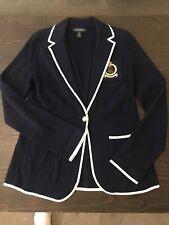 Lauren Ralph Lauren Women Crown Crest Knit Blazer Jacket Size Medium