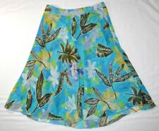 Laura Ashley Petites Blue Green Tropical Spring Silk Skirt Sequin Floral 8P