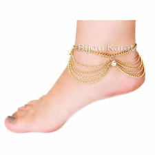 Feine Fußkette Bettelkette Gold Fußkettchen Hänger Fußschmuck Boho Strass