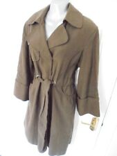 ❤ ZARA Size 10-12 Brown Khaki Popper Fasten Long Drawstring Waist Coat Jacket