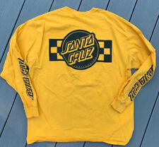 SANTA CRUZ Skateboards Mens XL L/S Skate Tee Yellow California Spell Out T-Shirt