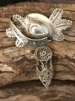 Vintage Austrian Souvenir Brooch, Villach Austria Silver filigree shoe charm