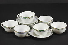 Vintage Thun De Luxe China Czechoslovokia Set of 6 Flat Tea Cups & Saucers