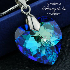 925 Sterling SILVER TITANIC Blue OCEAN HEART NECKLACE Swarovski CRYSTAL S1033