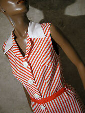 CHIC VINTAGE ROBE COTON CHEVRON 1970 VTG DRESS 70s STRIPE KLEID ABITO (36/38)