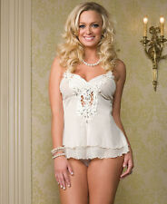 Leg Avenue Jewelled & Embroidered Babydoll - Camisole & G String Set (81106)
