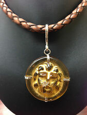 """Leather Necklace Sterling Silver 17"""" Runway Statement Choker Lion Head Glass"""