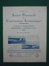 5/1934 PUB SPCA AERONAUTIQUE LA CIOTAT MARSEILLE AVION VIII HYDRAVION HERMES AD