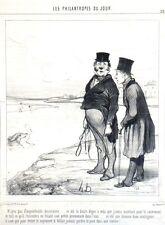 """Lithographie -  Daumier, """"Les philanthropes du jour"""""""