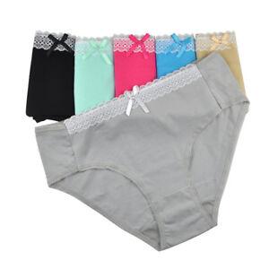 PLUS SIZE Ladies Knickers Women Underwear Cotton Mid Waist Panties 3/6/12 Pack