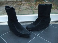 Gorgeous Black Suede Wedge Heel  Boots- ESSENCE (EVANS)- Size 5