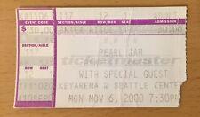 2000 PEARL JAM RHCP SEATTLE CONCERT TICKET STUB EDDIE VEDDER TEN EVEN FLOW 11/6