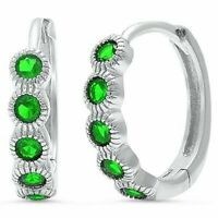 Stunning Emerald Huggie Hoop Earrings in Solid Sterling Silver - MAY Birthstone