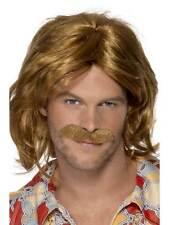 Short Brown Wavy Wig, 1970's Super Trouper Wig and Moustache. Mens #AU