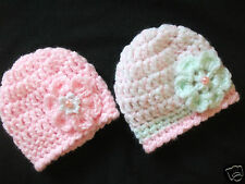 PACK X 2 HANDCROCHETED SOFT CHUNKY BABY HATS..TO FIT TINY/NEWBORN/BABY DOLLS