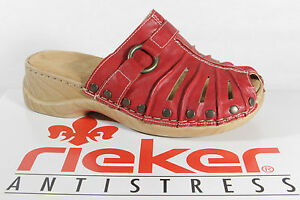 Rieker Girl Clogs Sabot Faux Leather Red New