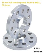 Wheel Slip On Spacers 15 mm 5x100 & 5x112 57.1 mm Hub Centric Volkswagen 2 PCS