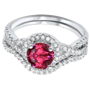 Ruby Red Engagement Infinity Simulated Diamonds Sterling Silver Ring Set