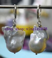 Fashion Huge Natural 13x22mm baroque white pearl earring AAA 999
