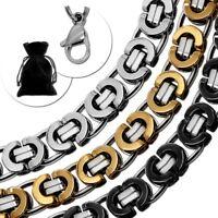 Flache Königskette Edelstahlkette Panzerkette Herren Halskette Armband Silbern