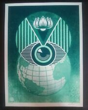 SHEPARD FAIREY Flint Eye Alert Globe Earth Crisis Signed Print Obey Giant *MINT*