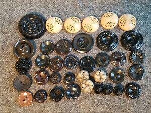 35 Vintage Plastic Black Brown Tan House Dress Flower Buttons Lot 72V