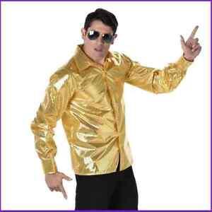 Karnival Mens Gold Sequin Disco shirt