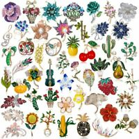 Chic Crystal Pearl Enamel Flower Collar Pin Brooch Wedding Party Women Jewelry
