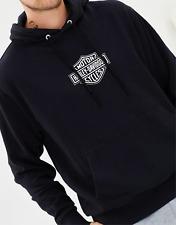 Mens Black Harley-Davidson Plexed.UK Hoodie White Logo Medium Hoody Bar & Shield
