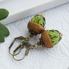 Perlen Ohrringe  Bronze Eichel Natur  Grün Herbst Wald