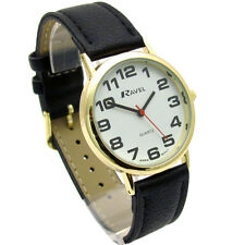 Ravel Mens Super-Clear Easy Read Quartz Watch Black Band White Face R0105.05.1A