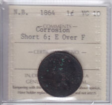 1864 New Brunswick One Cent ERROR ICCS Graded VG-10 Rare Error Piece