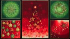 Precut Christmas Panel Robert Kaufman Radiant Holiday AINM15163-223 w/Gold Met.