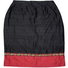 Mica Raw Silk Straight Skirt, Black Red, Mirror Ribbon Trim, Christmas, Size 12