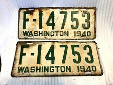VTG PAIR - WASHINGTON STATE  LICENSE PLATES, 1940  -FARM FRESH!