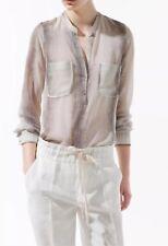 Zara Chiffon Snakeskin Animal Print Blouse Shirt Top Sz Medium 8 / 10 / 12