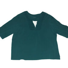 Catherines Shirt Sz 1x 1xwp 18 20 Teal White Knit Top Plus Womans Short Sleeve
