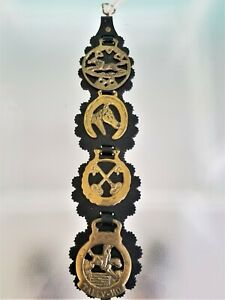 Lot of 4 Horse Brass Hanging Leather Strap Bust Keys Tally Ho Horseshoe Brasses