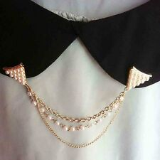 Spike Pearl Stud Blouse Shirt Collar Neck Tip Brooch Pin Chain Punk Necklace